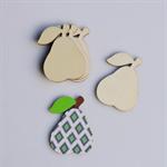 4 X Wood Pear Shape Embellishments