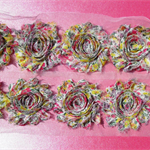 10 x Pink & Yellow Floral shabby chiffon rose flowers - for hairbands & craft
