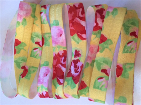 Yellow Red Pink Floral - Fold Over Elastic FOE-  2 metres Foldover Print Elastic