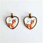 Adorable Kitsch Bambi Heart Cameos