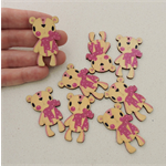 Last 8 Pink Bow Bear Wooden Embellishment