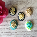 5 x Large Resin Cabochon