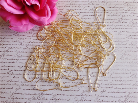 25 Pairs Large Kidney Earhooks - gold plated