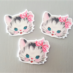 3 Kitsch KITTY resin cabochons