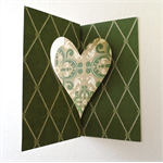 Green Flip-it Pop Up Card with Die Cut Love Heart for a DIY Valentine's Day Card