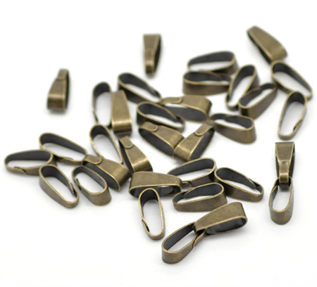 20 Antique Bronze Clip On Bails