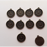 Antique Bronze Clock Charms x 10