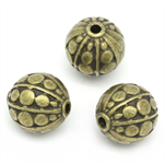 10 Beads Round Ball Antique Bronze Stripe & Dot Carved  Spacer Beads Round Ball