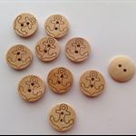 Wooden Anchor Design Buttons x 10
