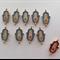 Hamsa Hand Turquoise Rhinestone Gold Tone Connector Charm x 10