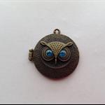 Antique Bronze Owl Rhinestone Aromatherapy Locket Pendant