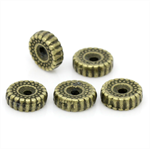 20 Antique Bronze Dot & Stripe Pattern Spacer Beads 10mm