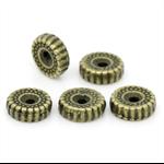 20 Antique Bronze Dot & Stripe Pattern Spacer Beads 10mm