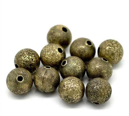 10 Beads Round Ball Antique Bronze 10mm Beads
