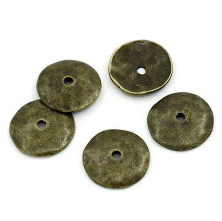 10  Spacer Beads Round Antique Bronze 13x2mm,
