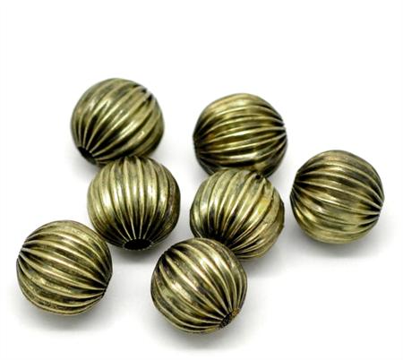 10 Spacer Beads Pumpkin  Antique Bronze 12mm