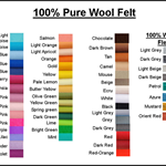 100% PURE WOOL FELT CHOOSE YOUR OWN COLOURS* 6 Squares 30cm x 25cm