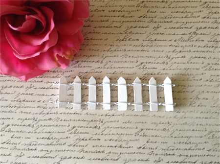 1 x Miniature Wood Fence  Fairy Garden - White
