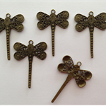Antique Bronze Filigree Dragonfly Charm for Pendant x 5