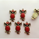 Bronze Owl Charm Red Cabochon Bead Red / Black Rhinestones for Pendant x 6