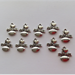 Antique Silver I Love Football Charms x 10