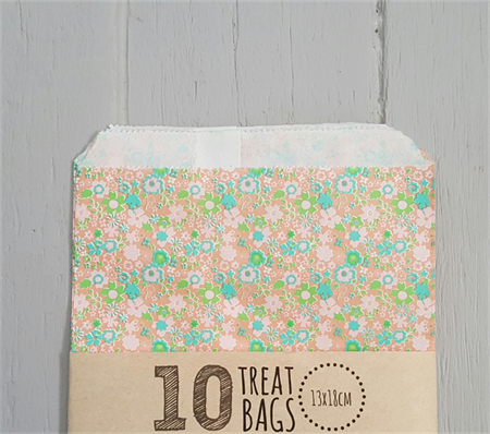 10 Floral Party Treat Bags 13x18cm