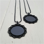 2 Black Pendant Cabochon Settings with chains