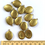 12 vintage brass gold locket jewellery pendant charms. Free postage offer.