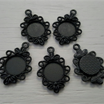 5 Black 12mm Cabochon Setting Charm Pendant