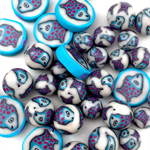 Handmade polymer clay beads - turquoise and pink fish