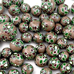 Handmade polymer clay beads - green and brown