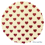 White Glitter Fabric with Sparkly Fuchsia Pink Love Hearts   Fine   A4 Sheet  
