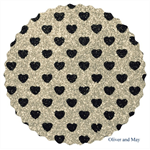 Silver Glitter Fabric with Sparkly Black Love Hearts | Fine | A4 Sheet |