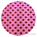 Glitter Fabric with Sparkly Glitter Love Hearts | Fine | A4 Sheet | Pink and Red