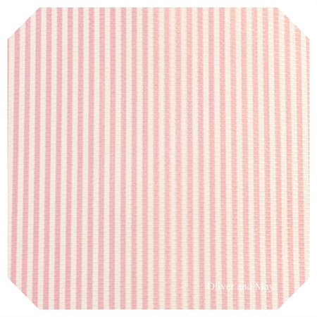 Pink and White Stripe Leatherette Sheet - A4 Size Faux Leather Fabric