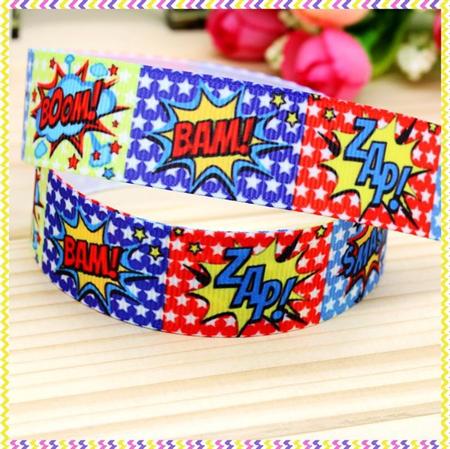 """Superhero Slogans Grosgrain Ribbon - Hair Bow Supplies Ribbon 7/8"""" 22mm FreePost"""