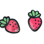 6pcs - Flatback Resin Cabochon Embellishment - Strawberry