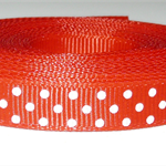 GROSGRAIN RIBBON RED with WHITE SPOTS    