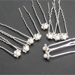 10 SILVER FLOWER & PEARL BRIDAL HAIR PINS (Imitation)