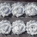 10 White shabby chiffon flowers - trim for millinery and hair clips
