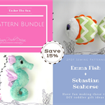 Stuffed Animals, e-Pattern, Plush Seahorse and Fish, Baby Toddler