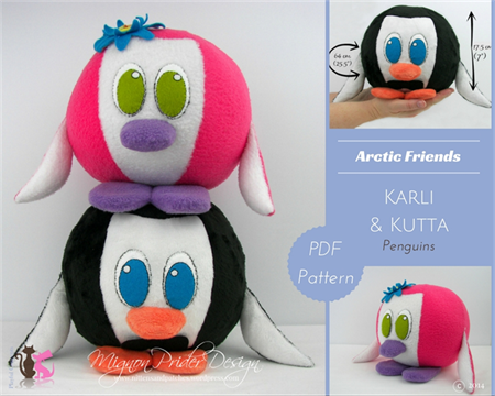 Karli & Kutta Penguin; PDF Sewing Pattern with Step-by-Step Instructions & Photo