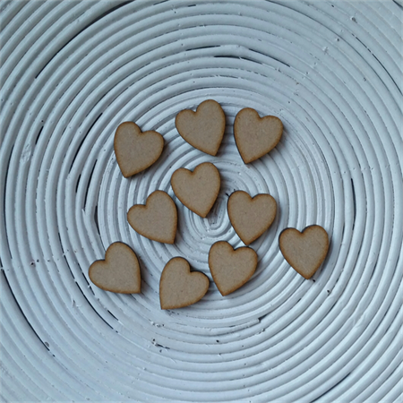 10 x Wooden Shape Heart Embellishments (20mm x 18mm x 3mm) ~ Scrabble Tile Size