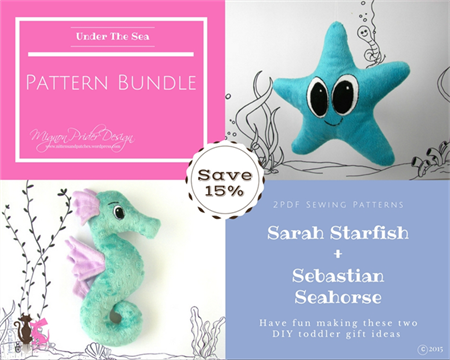 Stuffed Animals, e- Pattern, Plush Seahorse and Starfish, Baby Toys