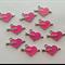 Pink Enamel Love Heart Rhinestone Arrow Charms  x 10