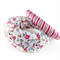 2 x Ribbon wrapped bangles - floral and pink stripe
