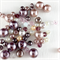 100 x crystals and glass pearls - pink and silver