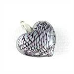 Large glass pendant - white heart