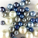 100 x glass pearls - blue, white and silver