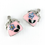 2 x pink enamel handbag charms with diamanté